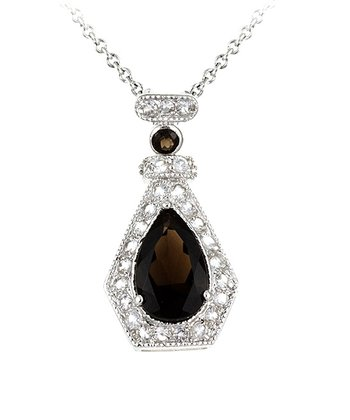 Smoky Quartz & Sterling Silver Pear Pendant Necklace