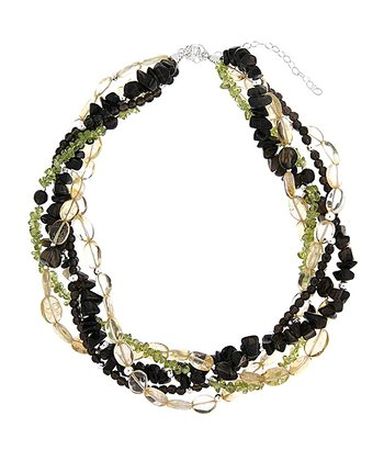 Black & Green Gemstone & Sterling Silver Twist Necklace