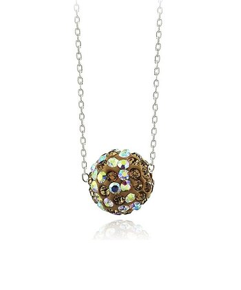 Gold Crystal & Sterling Silver Fireball Pendant Necklace