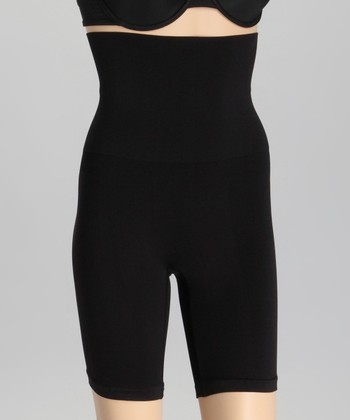Black Seamless Shaper High-Waist Shorts - Women