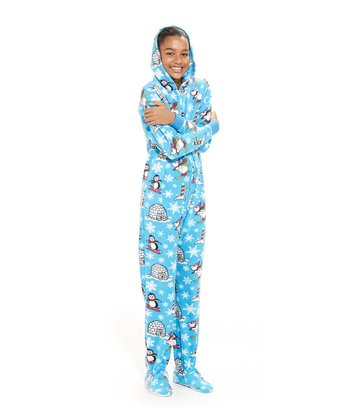 Blue Winter Wonderland Hooded Footie Pajamas - Kids