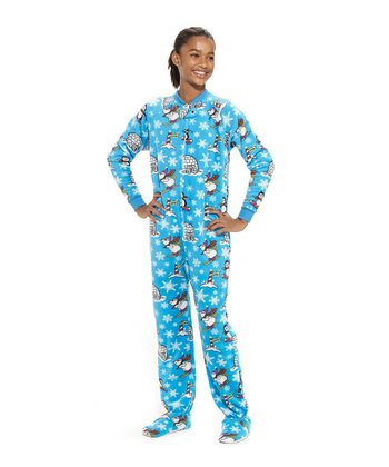 Blue Winter Wonderland Footie Pajamas - Kids