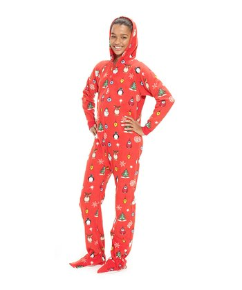 Red Holly Jolly Christmas Hooded Footie Pajamas - Kids