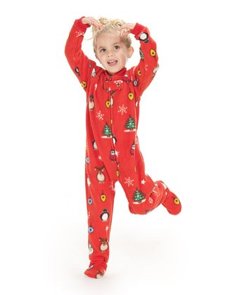 Red Holly Jolly Christmas Footie Pajamas - Kids
