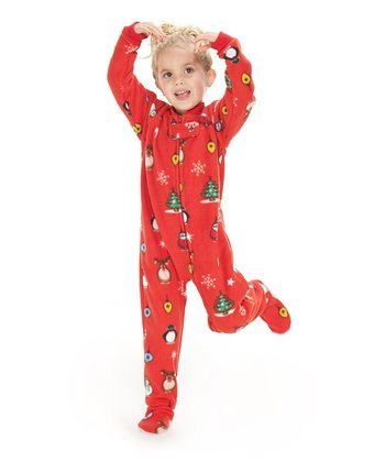 Red Holly Jolly Christmas Footie Pajamas - Toddler