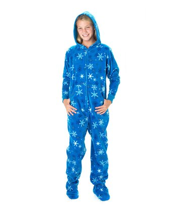 Blue Snow Day Hooded Footie Pajamas - Kids