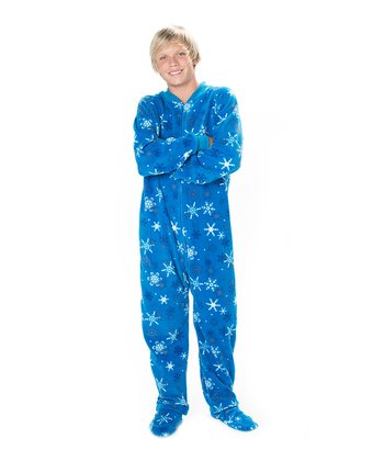 Blue Snow Day Footie Pajamas - Kids