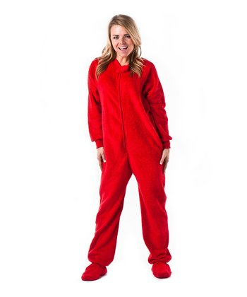 Red Heat Wave Chenille Footie Pajamas - Adults