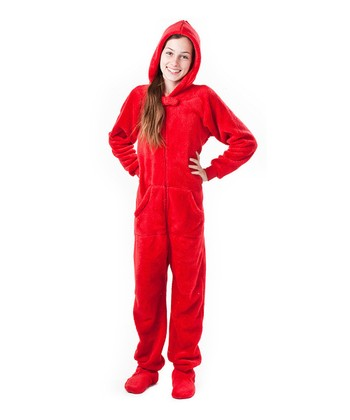 Red Heat Wave Chenille Hooded Footie Pajamas - Kids