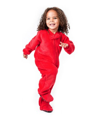 Red Heat Wave Chenille Footie Pajamas - Toddler
