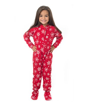 Red & White Snowflake Footie Pajamas - Toddler