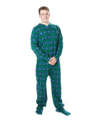 Royal Blue Plaid Footie Pajamas - Adult