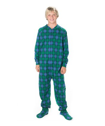 Royal Blue Plaid Footie - Kids