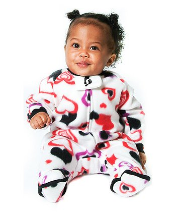 White Lots of Luv Fleece Footie - Infant