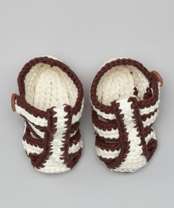 Brown & Cream Crochet Bobble Booties
