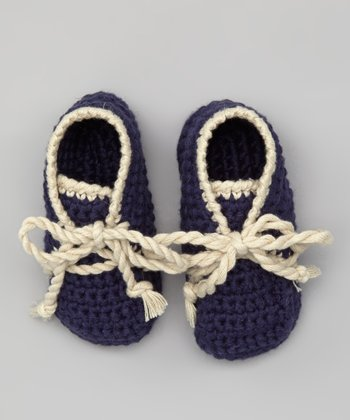 Navy & Cream Crocheted Bobble Booties