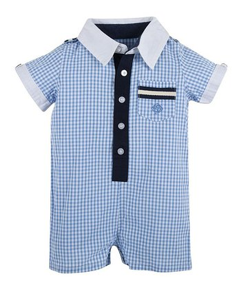 Blue Ging-Around-the-Rosie Romper - Infant