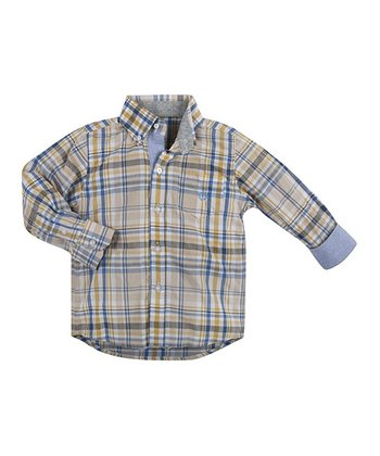 Yellow Plaidly In Love Button-Up - Toddler & Boys
