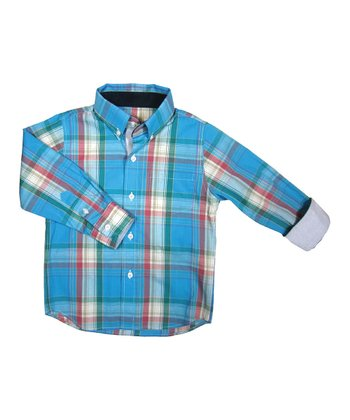 Teal Plaidly In Love Button-Up - Toddler & Boys
