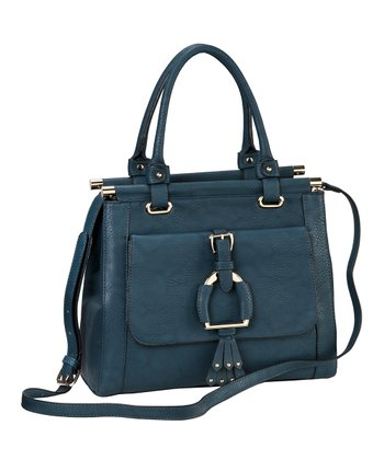 Deep Teal Buckle Satchel