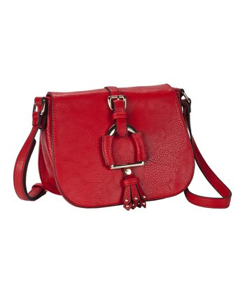 Red Buckle Crossbody Bag