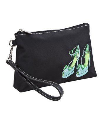 Black Head Over Heels Embroidered Wristlet