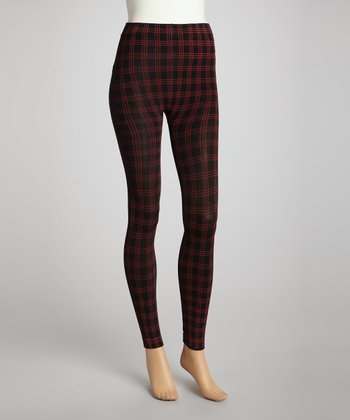 Red Plaid Fleece-Lined Leggings