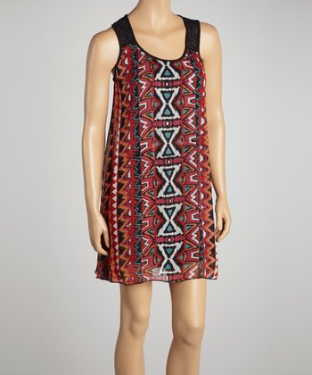 Red Aztec Lace-Back Shift Dress