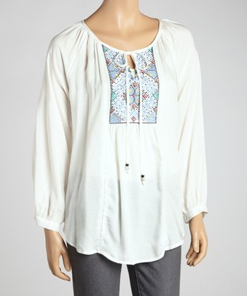 Ivory Embroidered Peasant Top