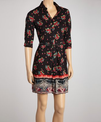 Black & Pink Floral Belted Shirt Dress