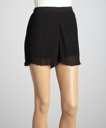 Black Pleated Chiffon Shorts