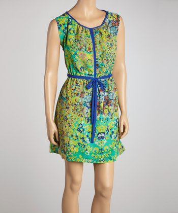 Green & Blue Floral Tie-Waist Dress
