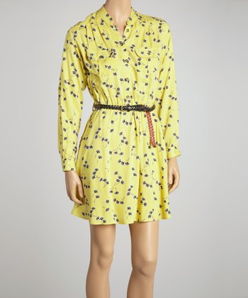 Yellow Floral Belted Shirt Dress