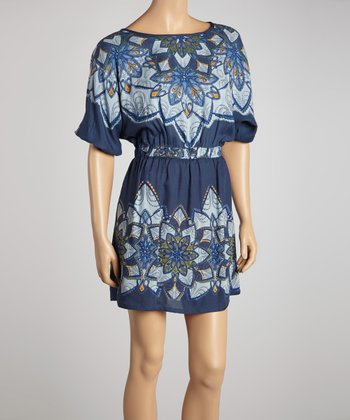 Navy Blue Boatneck Floral Dress