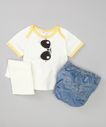 White Sunglasses Lap Neck Tee & Blue Diaper Set