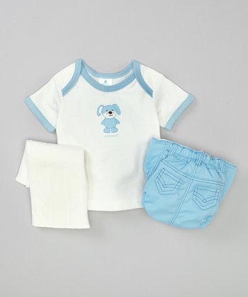 Blue Puppy Lap Neck Tee & Diaper Set