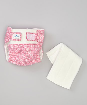 Pink Floral Tile Reusable Cloth Diaper
