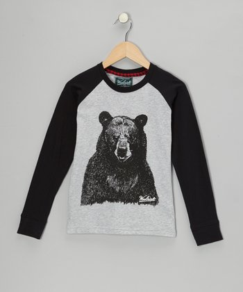 Heather Gray Bear Raglan Tee - Toddler & Boys