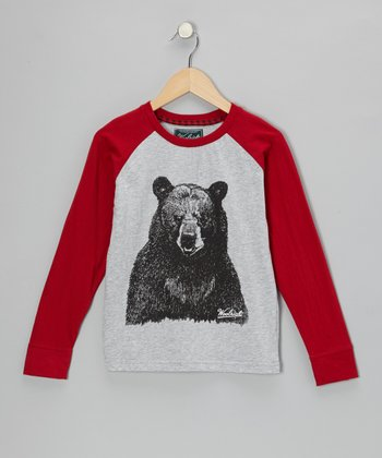 Red Bear Raglan Tee - Boys
