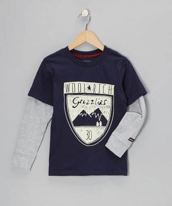 Navy 'Grizzlies' Layered Tee - Infant, Toddler & Boys