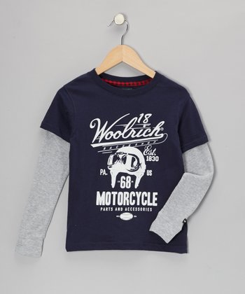 Navy 'Motorcycle' Layered Tee - Toddler & Boys