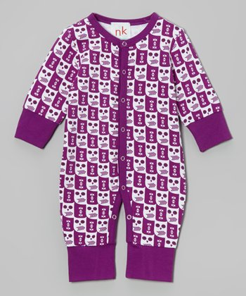 Purple & White Owl Playsuit - Infant
