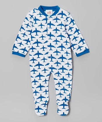 White & Blue Airplane Footie - Infant