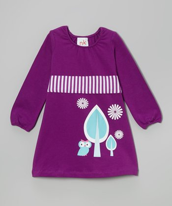 Purple & Blue Owl Sash Dress - Infant, Toddler & Girls