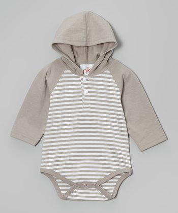 Gray Stripe Hooded Bodysuit - Infant