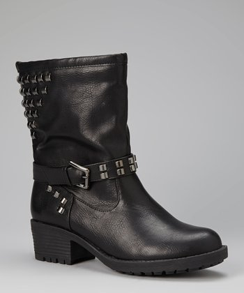 Black Studded Roger Boot