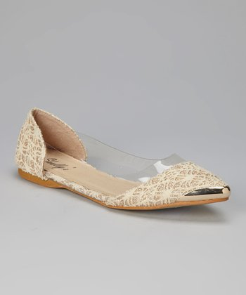 Beige & Gold Crocheted Ballet Flat