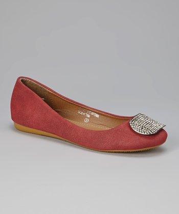 Burgundy & Gold Bond Ballet Flat