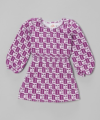 Purple Owl Shirred Dress - Infant, Toddler & Girls