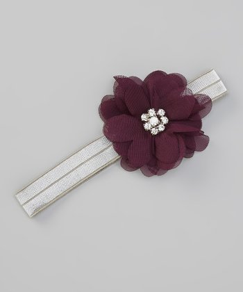 Purple & Silver Gem Flower Headband